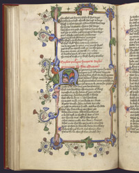 Illuminated Initial And Borders, In John Lydgate's 'The Story Of Thebes', And Thomas Hoccleve's 'The Regiment Of Princes' f.59v